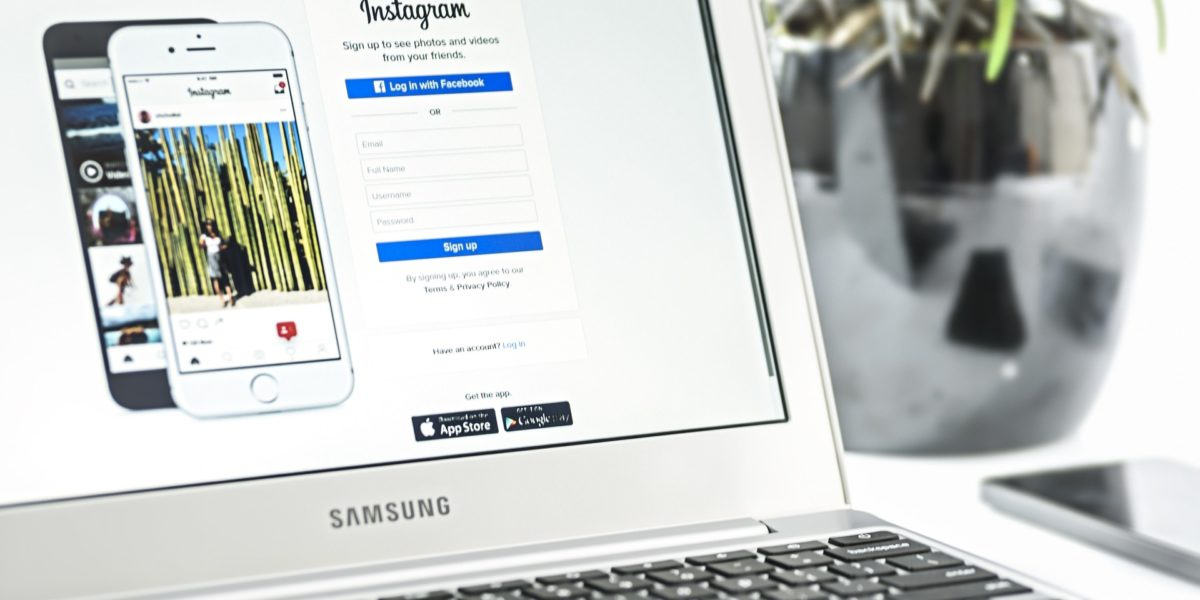 A laptop showing the Instagram login page