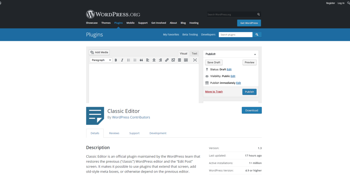 Classic Editor for WordPress 5.0