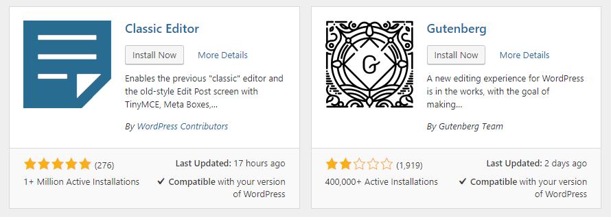 Classic Editor for WordPress 5.0